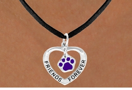 "<bR>              EXCLUSIVELY OURS!!<BR> CLICK HERE TO SEE 65+ EXCITING<BR>  CHANGES THAT YOU CAN MAKE!<BR>             LEAD & NICKEL FREE!!<BR>   W454SN - ""FRIENDS FOREVER""<br>PURPLE PAW & HEART NECKLACE<BR>                  AS LOW AS $6.25"