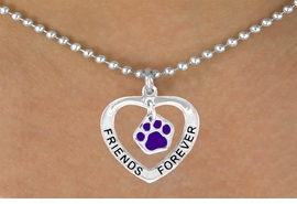 "<bR>              EXCLUSIVELY OURS!!<BR>CLICK HERE TO SEE 65+ EXCITING<BR> CHANGES THAT YOU CAN MAKE!<BR>             LEAD & NICKEL FREE!!<BR>   W454SN - ""FRIENDS FOREVER""<br>PURPLE PAW & HEART NECKLACE<BR>                  AS LOW AS $6.25"