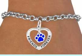 """<bR>             EXCLUSIVELY OURS!!<BR>CLICK HERE TO SEE 65+ EXCITING<BR> CHANGES THAT YOU CAN MAKE!<BR>            LEAD & NICKEL FREE!!<BR>  W456SB - """"FRIENDS FOREVER""""<BR>BLUE PAW & HEART ON BRACELET<Br>                  AS LOW AS $5.90"""