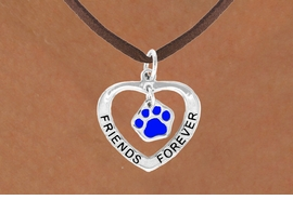 "<bR>             EXCLUSIVELY OURS!!<BR>CLICK HERE TO SEE 65+ EXCITING<BR> CHANGES THAT YOU CAN MAKE!<BR>            LEAD & NICKEL FREE!!<BR>  W456SN - ""FRIENDS FOREVER""<br>BLUE PAW & HEART ON NECKLACE<BR>                 AS LOW AS $6.25"