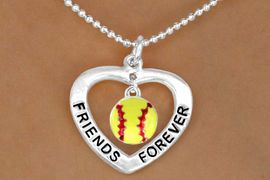 """<BR>            """"EXCLUSIVELY OURS""""<Br>              COPYRIGHTED 2007<Br>           LEAD & NICKEL FREE!!<Br>      AN ALLAN ROBIN DESIGN!!<BR>W13074N - """"FRIENDS FOREVER""""<BR>                          �2007<Br>      HEART & SOFTBALL DROP<Br>   NECKLACE AS LOW AS $4.70"""
