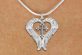 <bR>               EXCLUSIVELY OURS!! <BR>             LEAD & NICKEL FREE!! <BR> CHRISTIAN THEMED CHARM NECKLACE! <BR>   W20260N - GUARDIAN ANGEL WINGS <Br>    WITH SILVER TONE TWIST CROSS <BR>   CHARM ON SNAKE CHAIN NECKLACE <BR>      FROM $5.63 TO $12.50 �2013