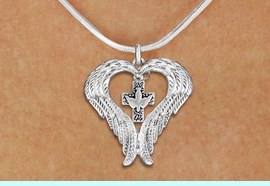 <bR>               EXCLUSIVELY OURS!! <BR>             LEAD & NICKEL FREE!! <BR> CHRISTIAN THEMED CHARM NECKLACE! <BR>   W20264N - GUARDIAN ANGEL WINGS <Br>   WITH SILVER TONE DOVE ON CROSS <BR>   CHARM ON SNAKE CHAIN NECKLACE <BR>      FROM $5.63 TO $12.50 �2013
