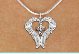 <bR>               EXCLUSIVELY OURS!! <BR>             LEAD & NICKEL FREE!! <BR> CHRISTIAN THEMED CHARM NECKLACE! <BR>   W20278N - GUARDIAN ANGEL WINGS <Br>    WITH SILVER TONE SCRIPT CROSS <BR>   CHARM ON SNAKE CHAIN NECKLACE <BR>      FROM $5.63 TO $12.50 �2013