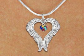 <bR>               EXCLUSIVELY OURS!! <BR>             LEAD & NICKEL FREE!! <BR>W19701N - GUARDIAN ANGEL WINGS <Br>AND AUTISM AWARENESS HEART <BR>CHARM & SNAKE CHAIN NECKLACE <BR>     FROM $5.63 TO $12.50 �2012
