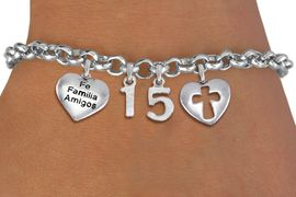 """<bR>                EXCLUSIVELY OURS!!<Br>               LEAD & NICKEL FREE!!<BR>W19819B - QUINCEAÑERA 15 THEMED <Br>SILVER TONE CHARM BRACELET WITH <BR>  """"FE FAMILIA AMIGOS"""" HEART AND <BR>   CHRISTIAN CROSS HEART CHARMS <BR>               FROM $4.50 TO $10.00"""