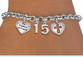 """<bR>                EXCLUSIVELY OURS!!<Br>               LEAD & NICKEL FREE!!<BR>W19819B - QUINCEA&#209;ERA 15 THEMED <Br>SILVER TONE CHARM BRACELET WITH <BR>  """"FE FAMILIA AMIGOS"""" HEART AND <BR>   CHRISTIAN CROSS HEART CHARMS <BR>               FROM $4.50 TO $10.00"""