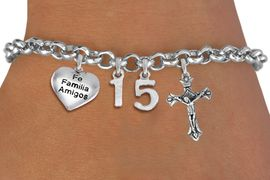 "<bR>                EXCLUSIVELY OURS!!<Br>               LEAD & NICKEL FREE!!<BR>W19820B - QUINCEA&#209;ERA 15 THEMED <Br>SILVER TONE CHARM BRACELET WITH <BR>  ""FE FAMILIA AMIGOS"" HEART AND <BR>   SILVER TONE CRUCIFIX CHARMS <BR>               FROM $4.50 TO $10.00"