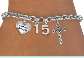 """<bR>                EXCLUSIVELY OURS!!<Br>               LEAD & NICKEL FREE!!<BR>W19820B - QUINCEA&#209;ERA 15 THEMED <Br>SILVER TONE CHARM BRACELET WITH <BR>  """"FE FAMILIA AMIGOS"""" HEART AND <BR>   SILVER TONE CRUCIFIX CHARMS <BR>               FROM $4.50 TO $10.00"""