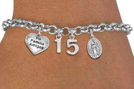 """<bR>                EXCLUSIVELY OURS!!<Br>               LEAD & NICKEL FREE!!<BR>W19821B - QUINCEAÑERA 15 THEMED <Br>SILVER TONE CHARM BRACELET WITH <BR>  """"FE FAMILIA AMIGOS"""" HEART AND <BR>SILVER TONE VIRGIN MARY CHARMS <BR>               FROM $4.50 TO $10.00"""