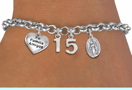 """<bR>                EXCLUSIVELY OURS!!<Br>               LEAD & NICKEL FREE!!<BR>W19821B - QUINCEA&#209;ERA 15 THEMED <Br>SILVER TONE CHARM BRACELET WITH <BR>  """"FE FAMILIA AMIGOS"""" HEART AND <BR>SILVER TONE VIRGIN MARY CHARMS <BR>               FROM $4.50 TO $10.00"""