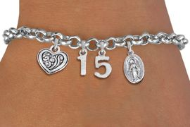 <bR>                EXCLUSIVELY OURS!!<Br>               LEAD & NICKEL FREE!!<BR>W19823B - QUINCEA&#209;ERA 15 THEMED <Br>SILVER TONE CHARM BRACELET WITH <BR>DETAILED ANTIQUED SCRIPT HEART AND <BR>SILVER TONE VIRGIN MARY CHARMS <BR>               FROM $4.50 TO $10.00