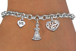 "<bR>                EXCLUSIVELY OURS!!<Br>               LEAD & NICKEL FREE!!<BR>W19823B - QUINCEA&#209;ERA 15 THEMED <Br>SILVER TONE CHARM BRACELET WITH <BR>""SIS"" HEART, QUINCEANERA GIRL AND <BR>ANTIQUED SCRIPT HEART CHARMS <BR>               FROM $4.16 TO $9.25"