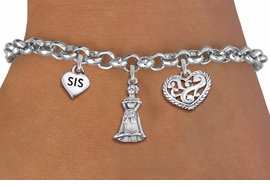 """<bR>                EXCLUSIVELY OURS!!<Br>               LEAD & NICKEL FREE!!<BR>W19823B - QUINCEA&#209;ERA 15 THEMED <Br>SILVER TONE CHARM BRACELET WITH <BR>""""SIS"""" HEART, QUINCEANERA GIRL AND <BR>ANTIQUED SCRIPT HEART CHARMS <BR>               FROM $4.16 TO $9.25"""
