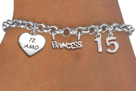 "<bR>                EXCLUSIVELY OURS!!<Br>               LEAD & NICKEL FREE!!<BR>W19825B - QUINCEA&#209;ERA 15 THEMED <Br>SILVER TONE CHARM BRACELET WITH <BR>NUMBER ""15"", A ""TE AMO"" HEART AND <BR>   A BEAUTIFUL""PRINCESS"" CHARM <BR>               FROM $4.50 TO $10.00"