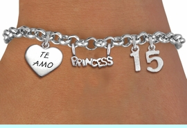 """<bR>                EXCLUSIVELY OURS!!<Br>               LEAD & NICKEL FREE!!<BR>W19825B - QUINCEA&#209;ERA 15 THEMED <Br>SILVER TONE CHARM BRACELET WITH <BR>NUMBER """"15"""", A """"TE AMO"""" HEART AND <BR>   A BEAUTIFUL""""PRINCESS"""" CHARM <BR>               FROM $4.50 TO $10.00"""