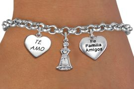 """<bR>                EXCLUSIVELY OURS!!<Br>               LEAD & NICKEL FREE!!<BR>W19826B - QUINCEA&#209;ERA 15 THEMED <Br>SILVER TONE CHARM BRACELET WITH <BR>QUINCEANERA GIRL, """"TE AMO"""" AND <BR> """"FE FAMILIA AMIGOS"""" HEART CHARMS <BR>               FROM $4.50 TO $10.00"""