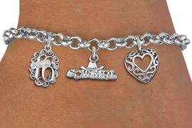 """<bR>                EXCLUSIVELY OURS!!<Br>               LEAD & NICKEL FREE!!<BR>W19829B - SWEET SIXTEEN 16 THEMED <Br>SILVER TONE CHARM BRACELET WITH <BR>  """"SWEET 16"""" AND """"COWGIRL"""" CHARMS <BR>WITH FANCY SCRIPT HEART CHARM <BR>               FROM $4.50 TO $10.00"""