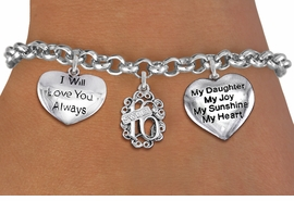 """<bR>                EXCLUSIVELY OURS!!<Br>               LEAD & NICKEL FREE!!<BR>W19830B - SWEET SIXTEEN 16 THEMED <Br>SILVER TONE CHARM BRACELET WITH <BR>""""SWEET 16""""CHARM, """"..ALWAYS LOVE YOU"""" <BR>AND """"MY DAUGHTER..."""" HEART CHARMS <BR>               FROM $7.31 TO $10.00"""