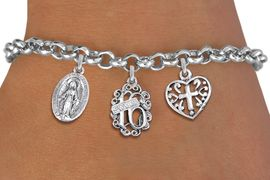 """<bR>                EXCLUSIVELY OURS!!<Br>               LEAD & NICKEL FREE!!<BR>W19831B - SWEET SIXTEEN 16 THEMED <Br>SILVER TONE CHARM BRACELET WITH <BR>""""SWEET 16"""" AND VIRGIN MARY CHARMS <BR>WITH SCRIPT CROSS HEART CHARM <BR>               FROM $4.50 TO $10.00"""