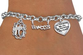 "<bR>                EXCLUSIVELY OURS!!<Br>               LEAD & NICKEL FREE!!<BR>W19833B - SWEET SIXTEEN 16 THEMED <Br>SILVER TONE CHARM BRACELET WITH <BR>  ""SWEET 16"" AND ""PRINCESS"" CHARMS <BR>WITH ""MY DAUGHTER..."" HEART CHARM <BR>               FROM $4.50 TO $10.00"