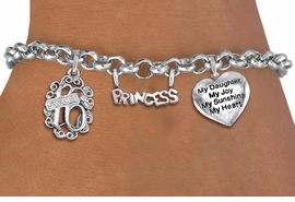 """<bR>                EXCLUSIVELY OURS!!<Br>               LEAD & NICKEL FREE!!<BR>W19833B - SWEET SIXTEEN 16 THEMED <Br>SILVER TONE CHARM BRACELET WITH <BR>  """"SWEET 16"""" AND """"PRINCESS"""" CHARMS <BR>WITH """"MY DAUGHTER..."""" HEART CHARM <BR>               FROM $4.50 TO $10.00"""