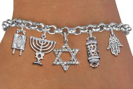 <bR>                EXCLUSIVELY OURS!!<Br>               LEAD & NICKEL FREE!!<BR>    W19886B - CHANUKAH THEMED <Br>SILVER TONE CHARM BRACELET WITH <BR>   CRYSTAL COVERED STAR OF DAVID <BR>  WITH JEWISH SILVER TONE CHARMS <BR>               FROM $7.31 TO $16.25