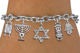 <bR>                EXCLUSIVELY OURS!!<Br>               LEAD & NICKEL FREE!!<BR>    W19887B - CHANUKAH THEMED <Br>SILVER TONE CHARM BRACELET WITH <BR>   CRYSTAL COVERED STAR OF DAVID <BR>  WITH JEWISH SILVER TONE CHARMS <BR>               FROM $7.31 TO $16.25