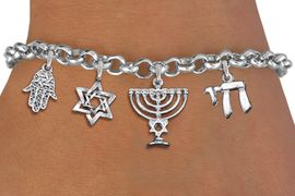 <bR>                EXCLUSIVELY OURS!!<Br>               LEAD & NICKEL FREE!!<BR>    W19890B - CHANUKAH THEMED <Br>SILVER TONE CHARM BRACELET WITH <BR>JEWISH MENORAH AND HAMSA PALM <BR>  WITH OTHER SILVER TONE CHARMS <BR>               FROM $5.29 TO $11.75