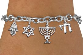 <bR>                EXCLUSIVELY OURS!!<Br>               LEAD & NICKEL FREE!!<BR>    W19891B - CHANUKAH THEMED <Br>SILVER TONE CHARM BRACELET WITH <BR>JEWISH MENORAH AND HAMSA PALM <BR>  WITH OTHER SILVER TONE CHARMS <BR>               FROM $5.29 TO $11.75