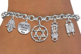 <bR>                EXCLUSIVELY OURS!!<Br>               LEAD & NICKEL FREE!!<BR> W19892B - JEWISH HERITAGE THEMED <Br>SILVER TONE CHARM BRACELET WITH <BR>CRYSTAL STAR OF DAVID IN CIRCLE CHARM <BR>  WITH JEWISH SILVER TONE CHARMS <BR>               FROM $7.31 TO $16.25