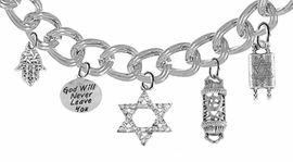 <bR>                EXCLUSIVELY OURS!!<Br>               LEAD & NICKEL FREE!!<BR> 1331-504-1670-846-371B5 - JEWISH  THEMED <Br>SILVER TONE CHARM BRACELET WITH <BR>CRYSTAL STAR OF DAVID CHARM <BR>               FROM $9.26 TO $16.25