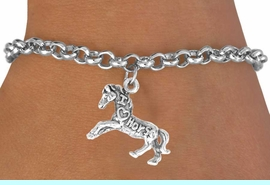 """<bR>                    EXCLUSIVELY OURS!!<Br>                   LEAD & NICKEL FREE!!<BR>   W247SB - """"I LOVE HORSES"""" HORSE<Br>CHARM & BRACELET AS LOW AS $4.50"""