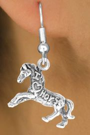 """<bR>                   EXCLUSIVELY OURS!!<Br>                  LEAD & NICKEL FREE!!<BR>   W247SE - """"I LOVE HORSES"""" HORSE<Br>CHARM & EARRINGS FROM $4.50 TO $8.35"""
