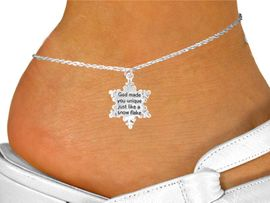 """<bR>                  EXCLUSIVELY OURS!!<Br>                 LEAD & NICKEL FREE!!<BR>W258SAK - """"GOD MADE YOU UNIQUE""""<Br>       SNOWFLAKE CHARM & ANKLET<Br>                  FROM $4.50 TO $8.35"""