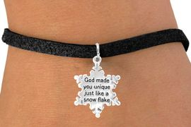 "<bR>                 EXCLUSIVELY OURS!!<Br>                LEAD & NICKEL FREE!!<BR>W258SB - ""GOD MADE YOU UNIQUE""<Br>   SNOWFLAKE CHARM & BRACELET<BR>                FROM $4.50 TO $8.35"