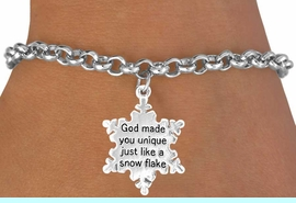 """<bR>                 EXCLUSIVELY OURS!!<Br>                LEAD & NICKEL FREE!!<BR>W258SB - """"GOD MADE YOU UNIQUE""""<Br>   SNOWFLAKE CHARM & BRACELET<BR>                FROM $4.50 TO $8.35"""