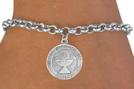 "<bR>             EXCLUSIVELY OURS!!<Br>            LEAD & NICKEL FREE!!<BR>W260SB - ""FIRST COMMUNION""<Br>MEDALLION CHARM & BRACELET<BR>            FROM $4.50 TO $8.35"