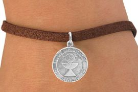 """<bR>             EXCLUSIVELY OURS!!<Br>            LEAD & NICKEL FREE!!<BR>W260SB - """"FIRST COMMUNION""""<Br>MEDALLION CHARM & BRACELET<BR>            FROM $4.50 TO $8.35"""