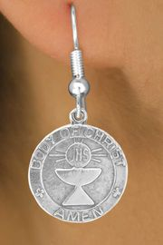 """<bR>            EXCLUSIVELY OURS!!<Br>           LEAD & NICKEL FREE!!<BR>W260SE - """"FIRST COMMUNION""""<Br>MEDALLION CHARM & EARRINGS<Br>         FROM $4.50 TO $8.35"""