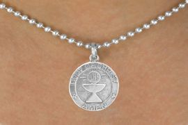 "<bR>             EXCLUSIVELY OURS!!<Br>            LEAD & NICKEL FREE!!<BR> W260SN - ""FIRST COMMUNION""<Br>MEDALLION CHARM & NECKLACE<Br>             FROM $4.50 TO $8.35"