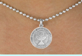 """<bR>             EXCLUSIVELY OURS!!<Br>            LEAD & NICKEL FREE!!<BR> W260SN - """"FIRST COMMUNION""""<Br>MEDALLION CHARM & NECKLACE<Br>             FROM $4.50 TO $8.35"""