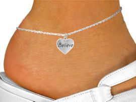 """<bR>                 EXCLUSIVELY OURS!!<Br>                LEAD & NICKEL FREE!!<BR>W263SAK - """"BELIEVE"""" HEART CHARM <Br>       & ANKLET FROM $4.50 TO $8.35"""