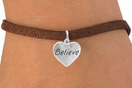 """<bR>        EXCLUSIVELY OURS!!<Br>       LEAD & NICKEL FREE!!<BR>W263SB - """"BELIEVE"""" HEART<Br>         CHARM & BRACELET<br>        FROM $4.50 TO $8.35"""