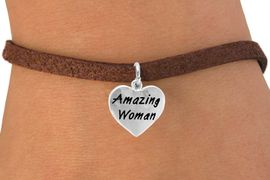 """<bR>           EXCLUSIVELY OURS!!<Br>          LEAD & NICKEL FREE!!<BR>W265SB - """"AMAZING WOMAN""""<Br>    HEART CHARM & BRACELET<br>               AS LOW AS $4.50"""