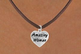 """<bR>                    EXCLUSIVELY OURS!!<Br>                   LEAD & NICKEL FREE!!<BR>W265SN - """"AMAZING WOMAN"""" HEART<br>CHARM & NECKLACE AS LOW AS $4.50"""