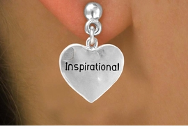 """<bR>        EXCLUSIVELY OURS!!<Br>       LEAD & NICKEL FREE!!<BR>W268SE - """"INSPIRATIONAL""""<Br> HEART CHARM & EARRINGS<Br>           FROM $4.50 TO $8.35"""