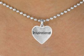 """<bR>                   EXCLUSIVELY OURS!!<Br>                  LEAD & NICKEL FREE!!<BR>  W268SN - """"INSPIRATIONAL"""" HEART<br>CHARM & NECKLACE AS LOW AS $4.50"""
