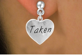 """<bR>               EXCLUSIVELY OURS!!<Br>              LEAD & NICKEL FREE!!<BR>W270SE - """"TAKEN"""" HEART CHARM<Br>     & EARRINGS FROM $4.50 TO $8.35"""