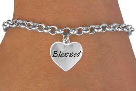 "<bR>             EXCLUSIVELY OURS!!<Br>            LEAD & NICKEL FREE!!<BR>W272SB - ""BLESSED"" HEART &<Br>BRACELET FROM $4.50 TO $8.35"